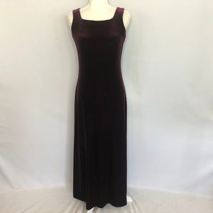 Rhapsody maroon velour long sleeveless dress 6